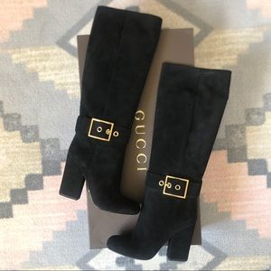 Black Gucci Suede Kesha Knee High Round-Toe Boots